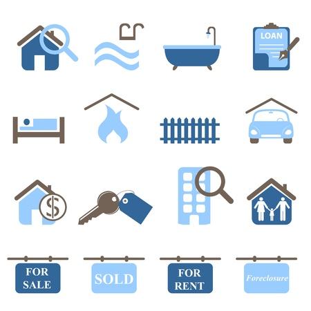 Iconos de bienes raíces en tonos de azules