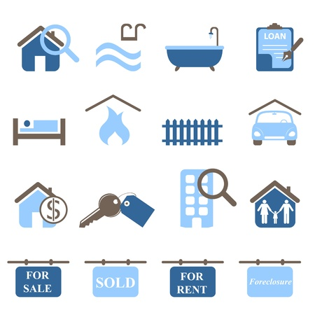 property for sale: Real estate icons in blue tones Illustration