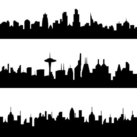 Various city skyline silhouettes Stock Vector - 8923679