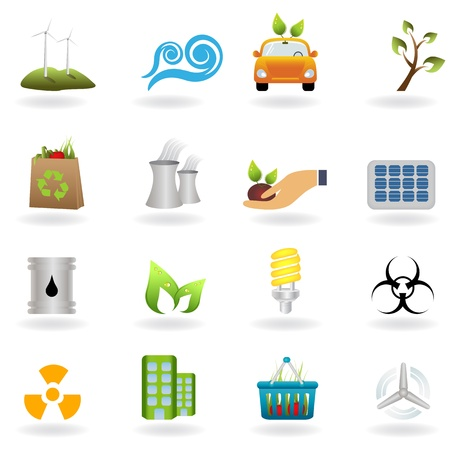 Eco and green environment icons Stock Vector - 8923683