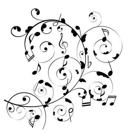 Musical notes on swirly stave Stock Vector - 8923681