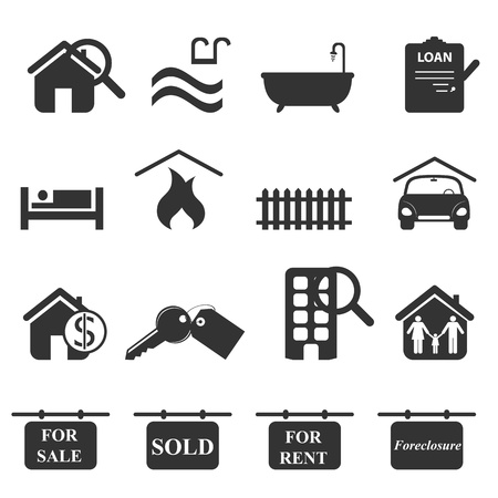 Real estate icons in gray Illustration