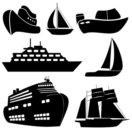 Ships and boats in black Vector