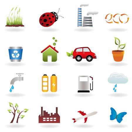 Eco symbols in icon set Stock Vector - 9045753