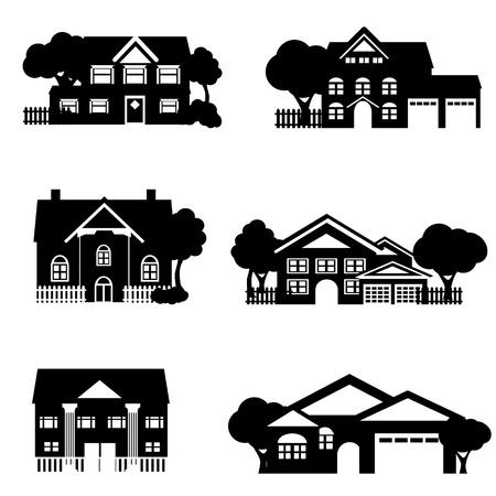 Single family houses in black Stock Vector - 9045749