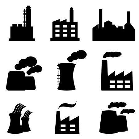 Factory, power plants and industrial buildings Vector