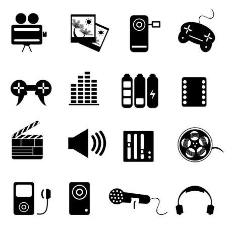 Media related elements icon set Vector