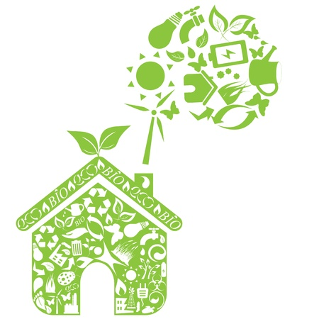 Green house with eco symbols Vector