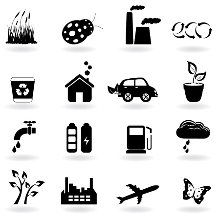 recycling plant: Eco symbols in icon set