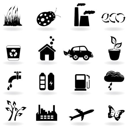 Symboles Eco dans le jeu d'icônes Banque d'images - 9129994