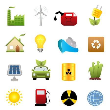 hazardous waste: Energia pulita e ambiente verde relativi simboli Vettoriali