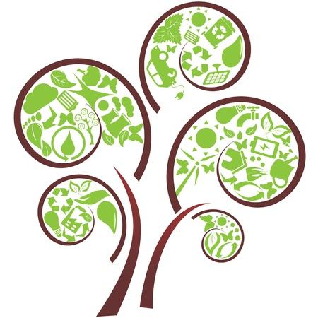 Green tree with eco symbols Vector