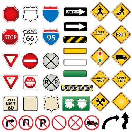 Various road and traffic signs Çizim