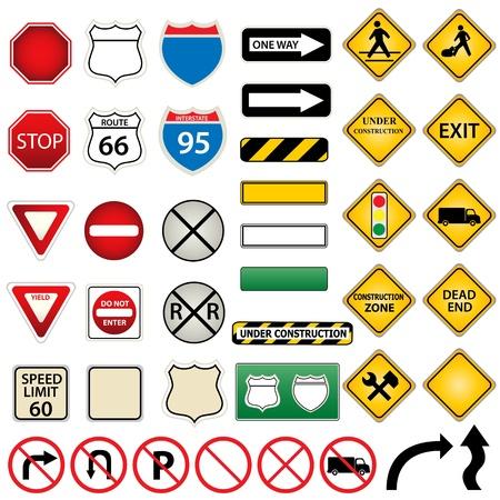 Verschillende borden voor weg en verkeer