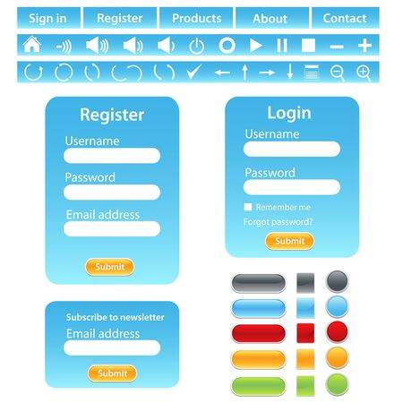 website buttons: Website design template in blue tones
