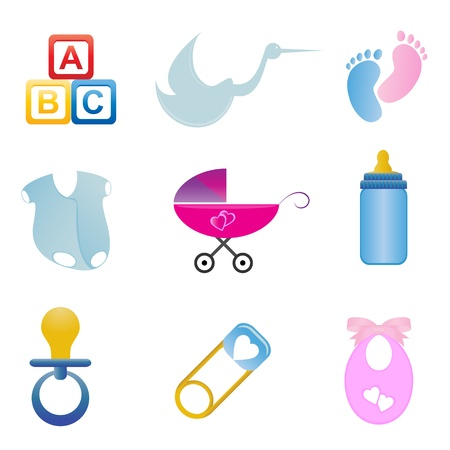 Baby related items in icon set Stock Vector - 9247894