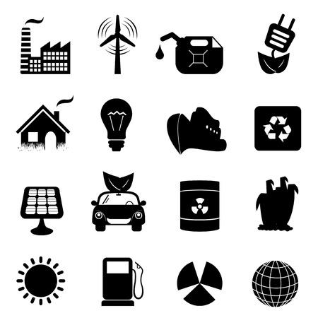 hazardous waste: Eco simboli in un set di icone