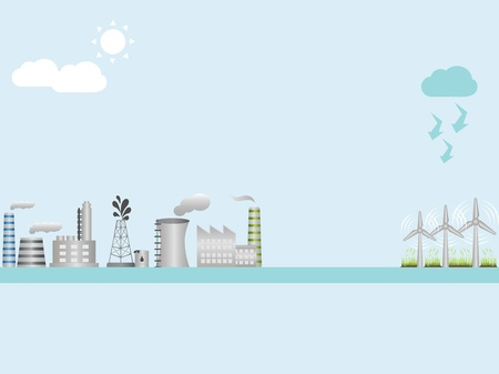Industrial buildings and wind turbines Vector