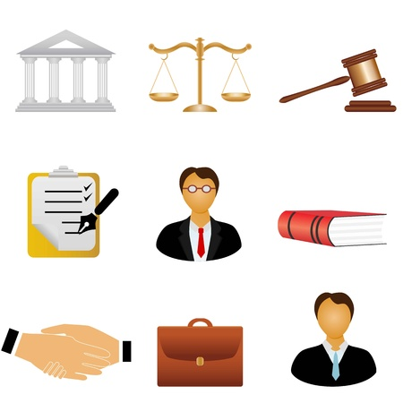 Law and justice related symbols Stock Vector - 9330396