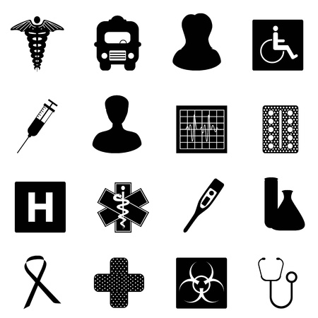 Symbols related to medicine and healthcare Illustration