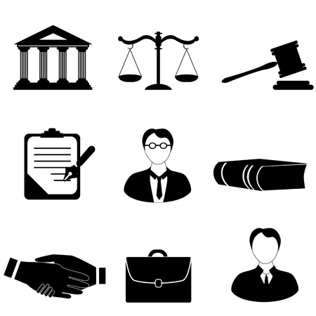 Law, legal and justice related symbols Stock Illustratie