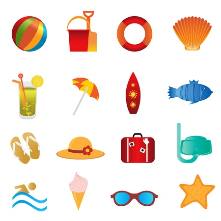 Summer and beach icons on white background Illustration