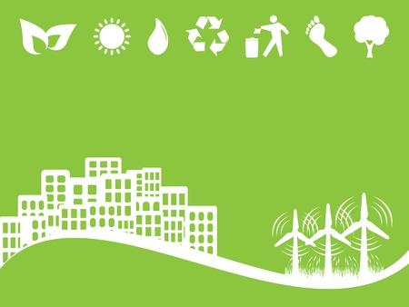 ecologic: Energ�as limpias con turbinas de viento Vectores