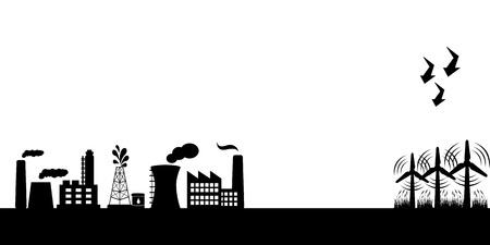 Industriële gebouwen en alternatieve schone energie met windturbines