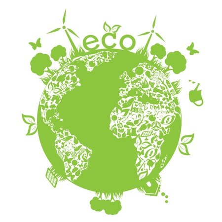 recycling: Eco symbols in green world