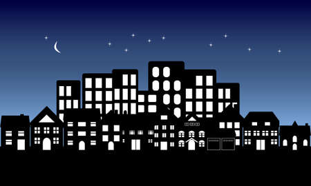 Night fall on urban and suburban buildings Vector