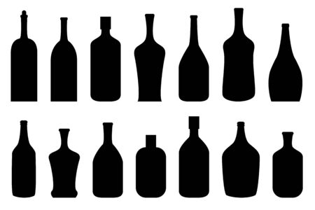 Alcoholic drink bottles in black Illustration