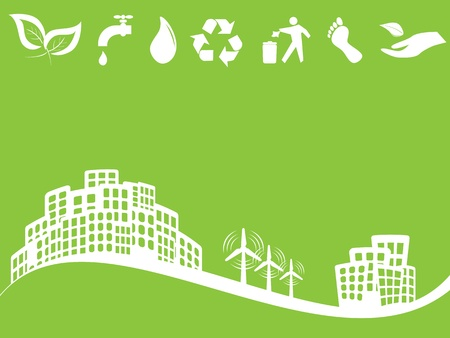 Eco friendly green city with wind turbines