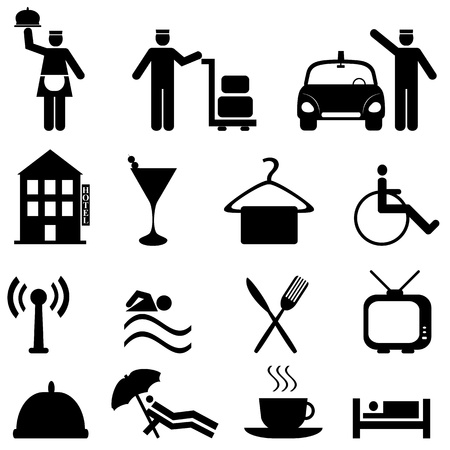Hotel and hospitality icon set in black Illustration