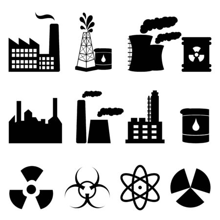 Industrial buildings and signs icon set in black Vector
