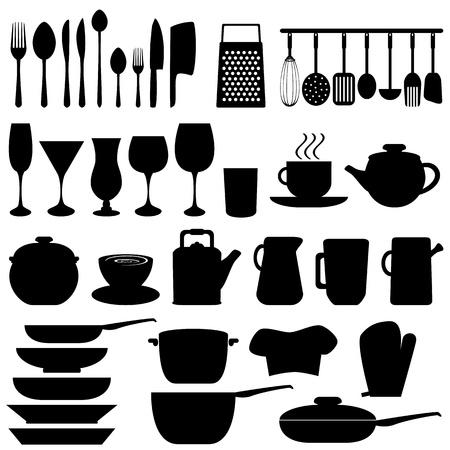cuchara y tenedor: Objetos de cocina y utensilios en negro Vectores