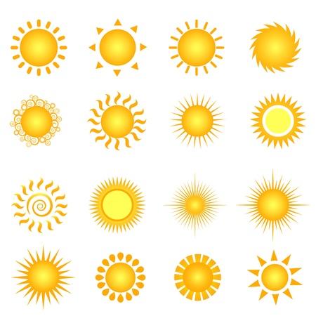 sunshine: Conjunto de iconos de varios soles en blanco Vectores