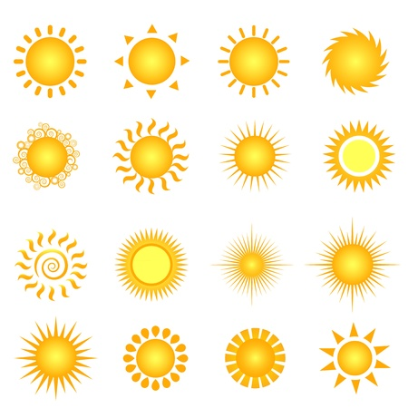 sun ray: Various suns icon set on white