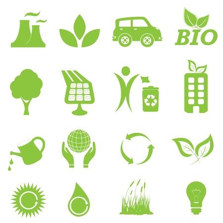 Ecologie en schoon milieu icon set