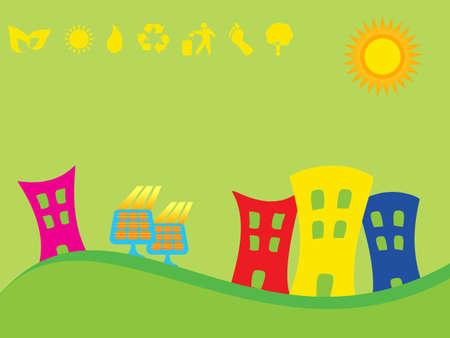 Green city using solar panels
