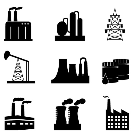 Industrial building and objects icon set