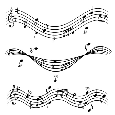 Various music notes on stave Stok Fotoğraf - 9717590