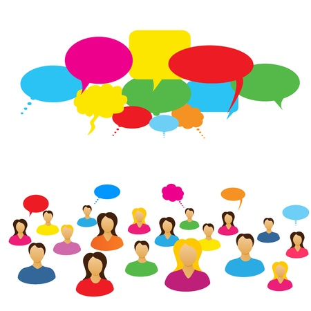 Social network of people chatting Stock Vector - 9717631