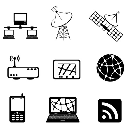 Communication, technology and computer icon set Illustration