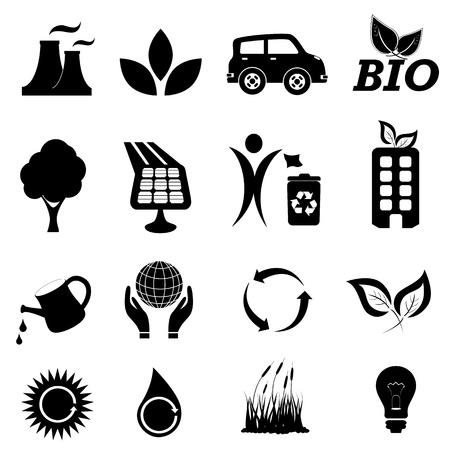 Ecologie en milieu gerelateerde symbolen Stock Illustratie