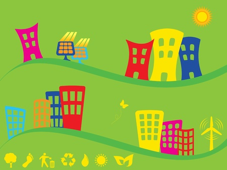 alternative energy sources: Green city using alternative energy sources Illustration