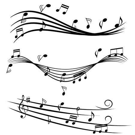 Verschillende muziek notities op de notenbalk Stock Illustratie
