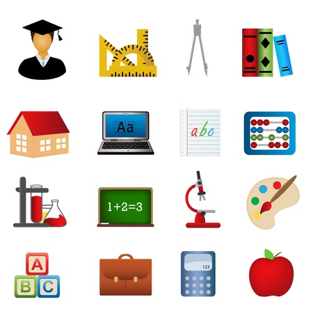 Education and school related symbols icon set Illustration