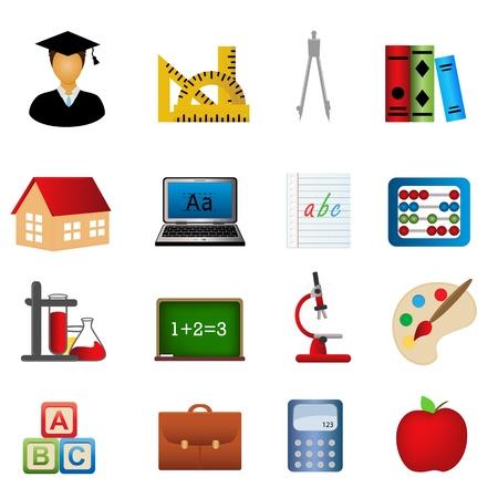 Onderwijs en de school gerelateerde symbolen icon set