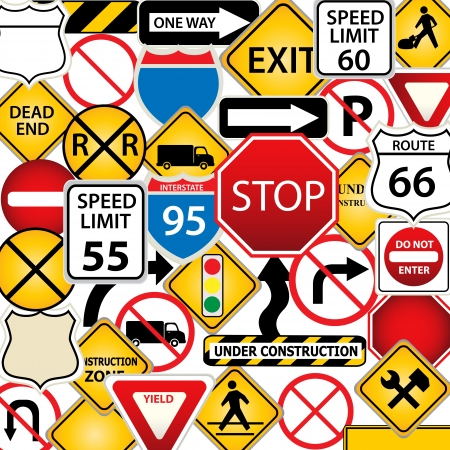 road ahead: Collage of road and traffic signs Illustration