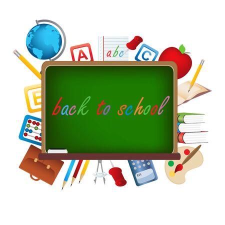 school: Back to school items on board Illustration